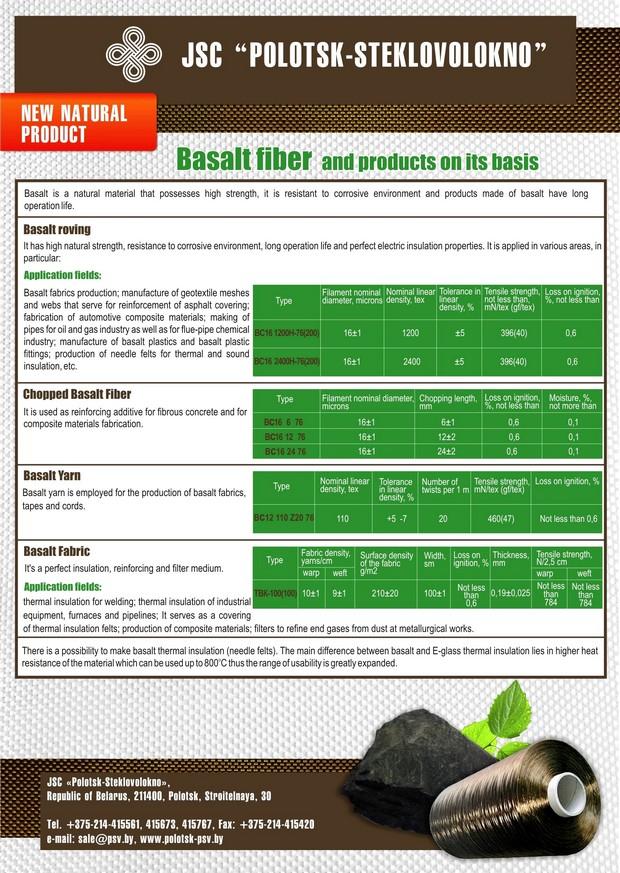 Basalt Fiber And Products On Its Basis Полоцк Стекловолокно